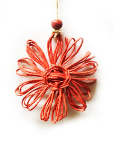 Twine Flower Ornament Red