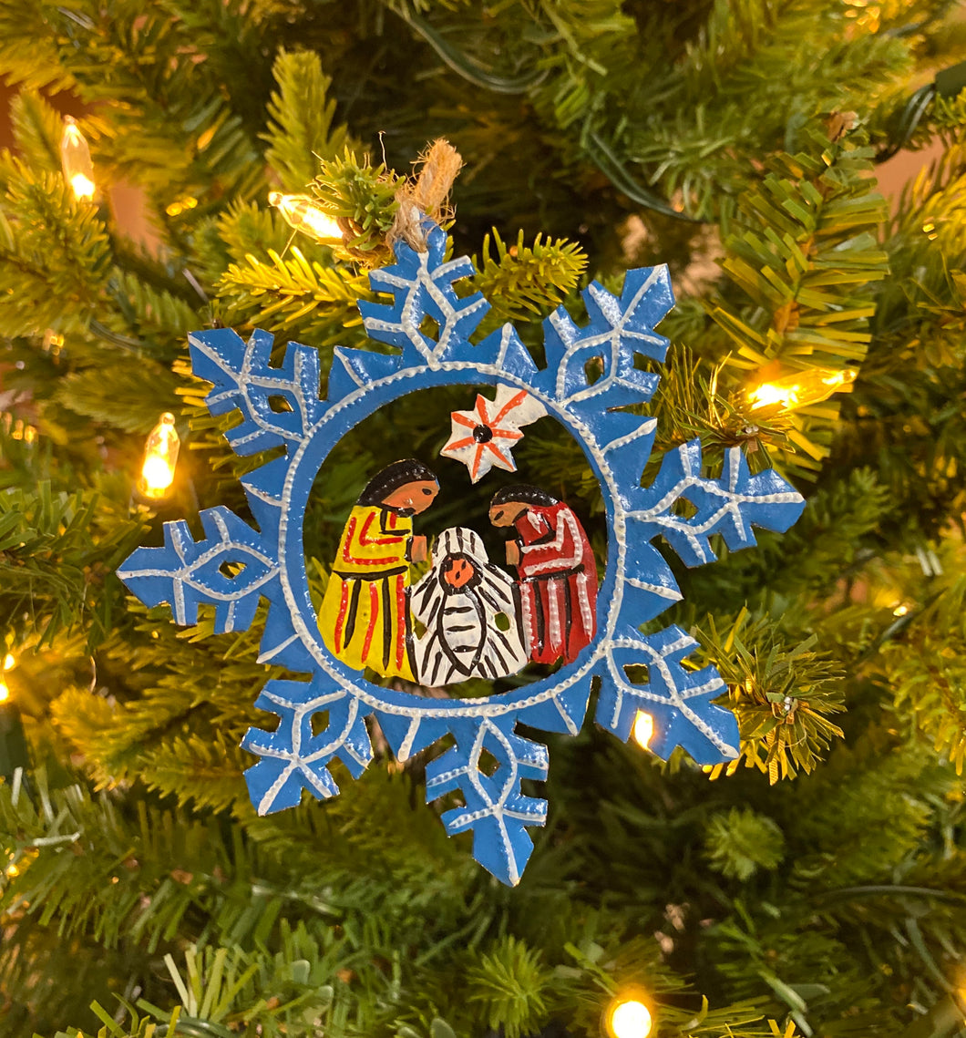 Nativity Ornament Blue Snowflake