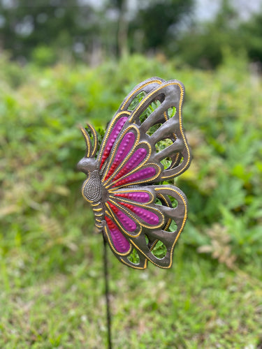 Yard / Garden Stake - Pink Butterfly Folded Wings