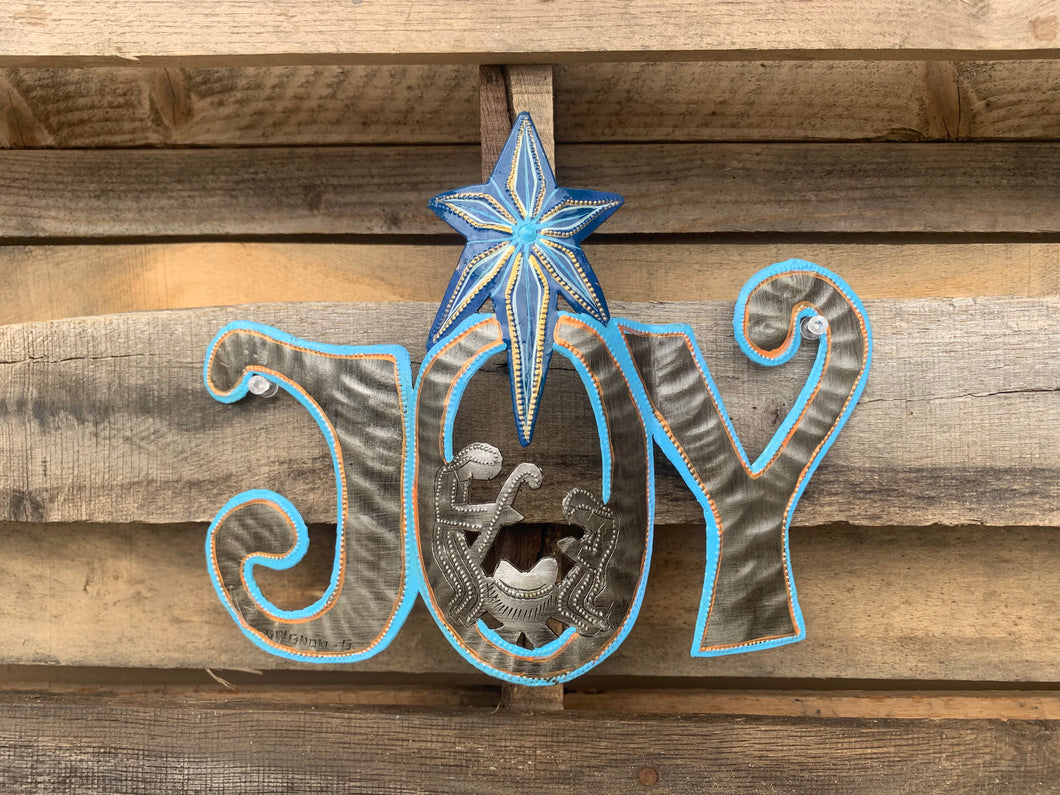Joy with Nativity Painted - Light Blue