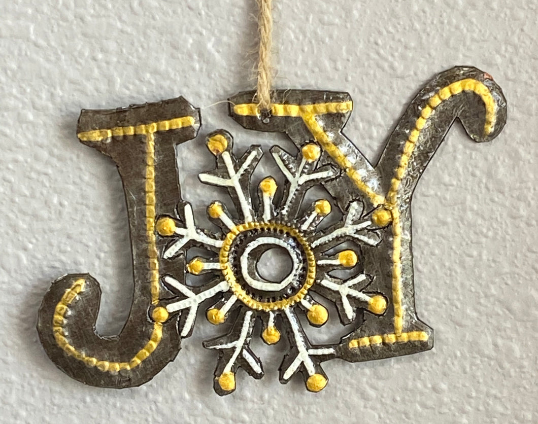 Joy with Snowflake Yellow Ornament