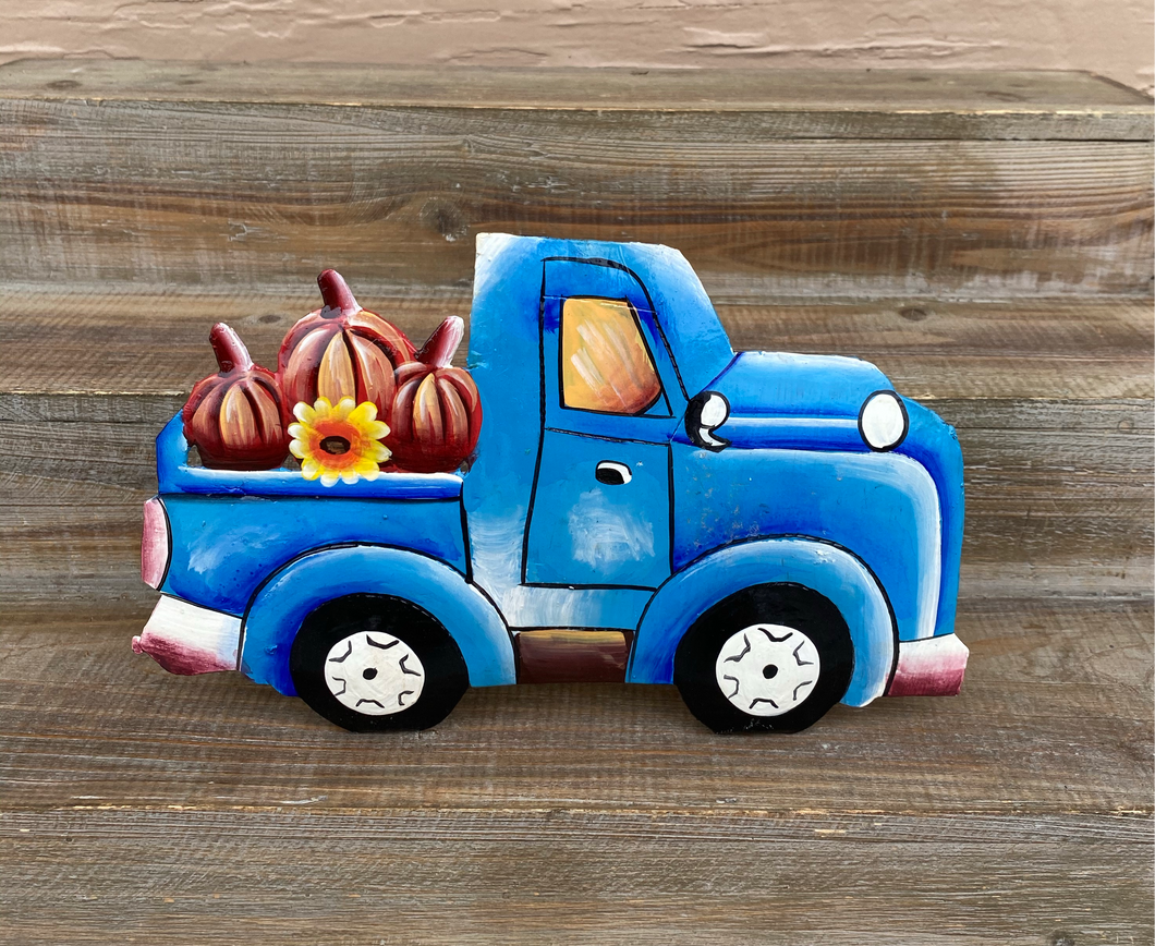 Fall Blue Pumpkin Truck