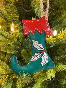 Stocking Green with Red Trim Ornament