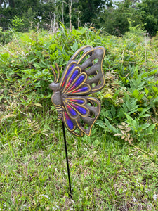 Yard / Garden Stake - Purple Butterfly Folded Wings