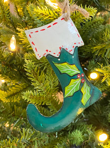 Stocking Green with White Trim Ornament