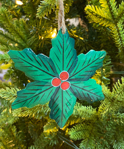Green Flower with Berries Ornament