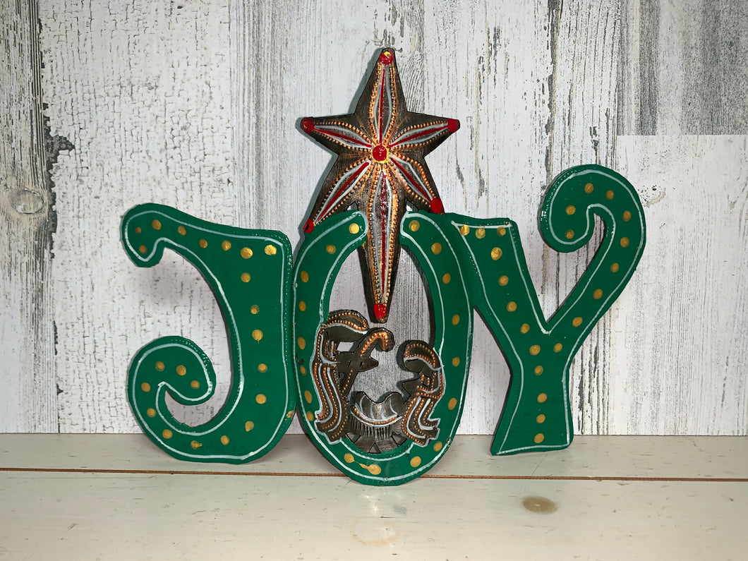 Joy with Nativity Painted - Green