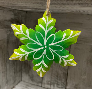 Green White Flower / Snowflake Ornament
