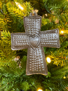 Cross with Heart Ornament