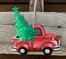 Load image into Gallery viewer, Red Truck Painted Ornament