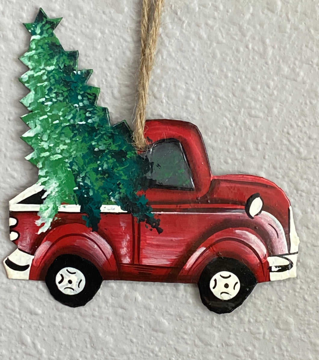 Red Truck Painted Ornament
