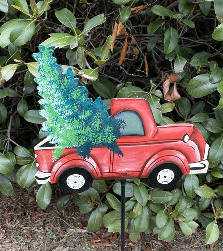 Yard / Garden Stake Red Truck with Christmas Tree -Small