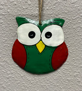 Owl Ornament Green & Red