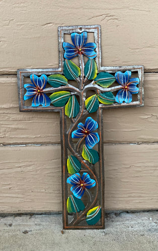 Blue Swirl Flower Cross