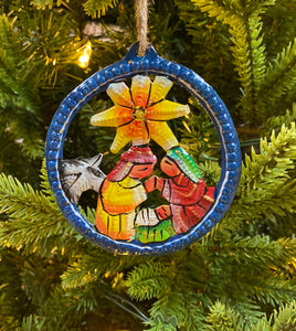 Nativity Ornament Round  - Painted