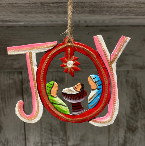 Joy Nativity Painted Ornament