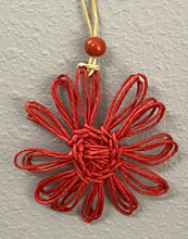 Load image into Gallery viewer, Twine Flower Ornament Red