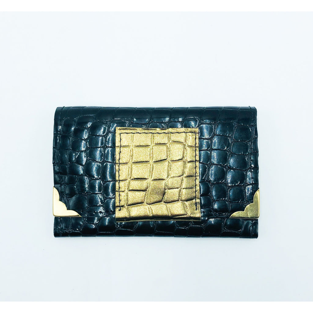 Black and gold printed leather small wallet