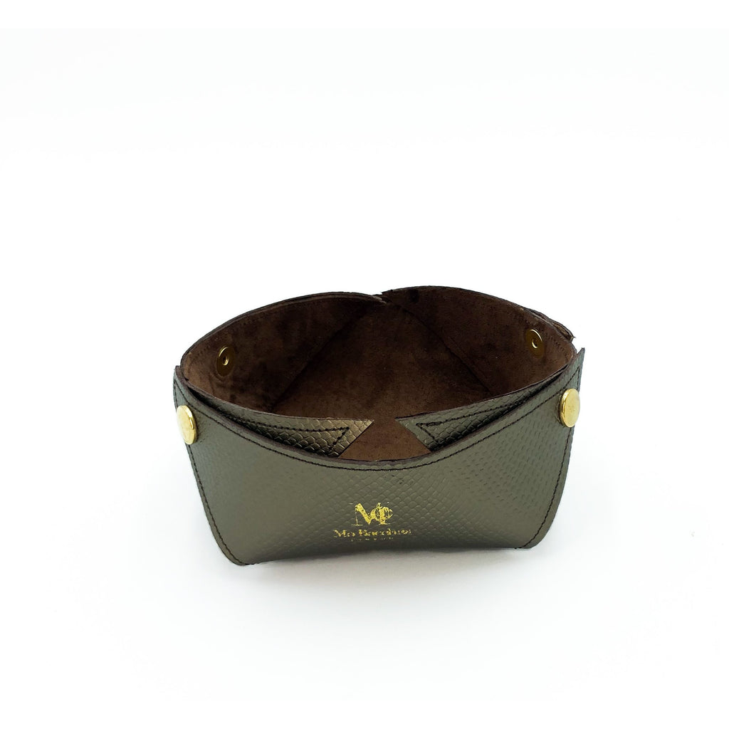 Home Decor - Leather Tray Khaki Gold