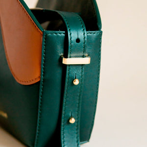 Leather Handbag Green and Brown. Adjustable Strap