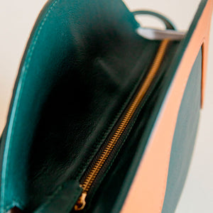 Leather Handbag Green and Brown Zoom detail