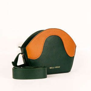 Leather Handbag Green and Brown. Small Size. Belli Grau