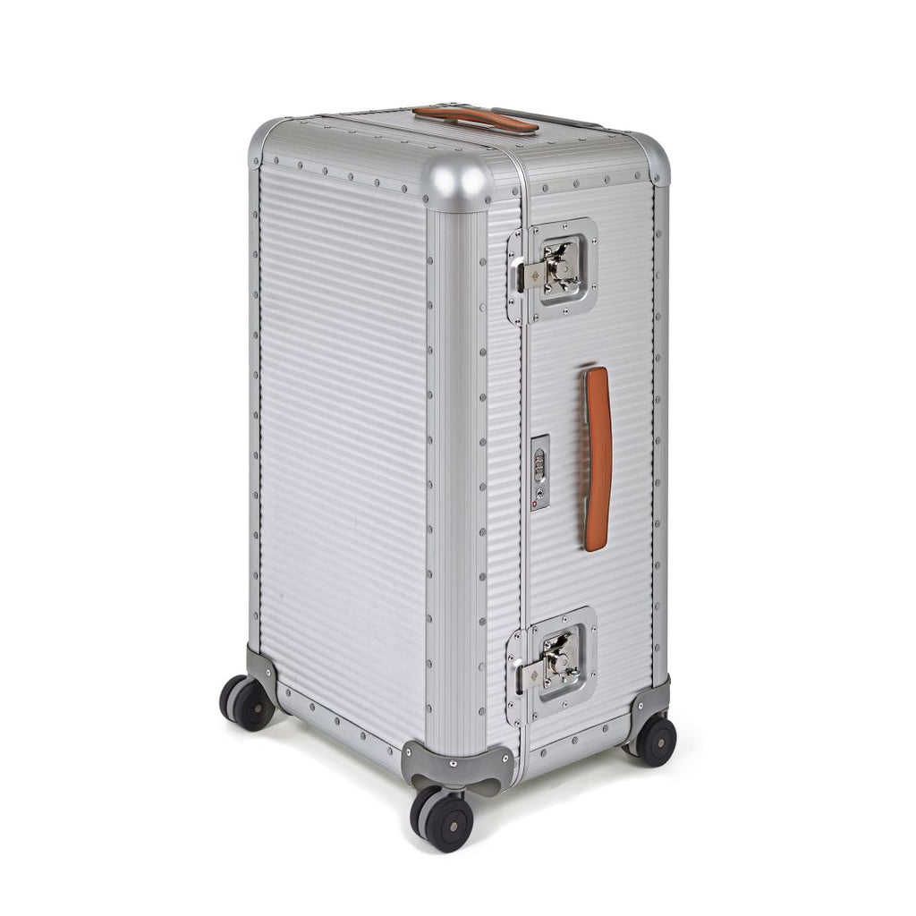 FPM Bank Trunk in Silver.  FPM is a premium luggage.  Made of 100% Aluminium and Made in Italy.