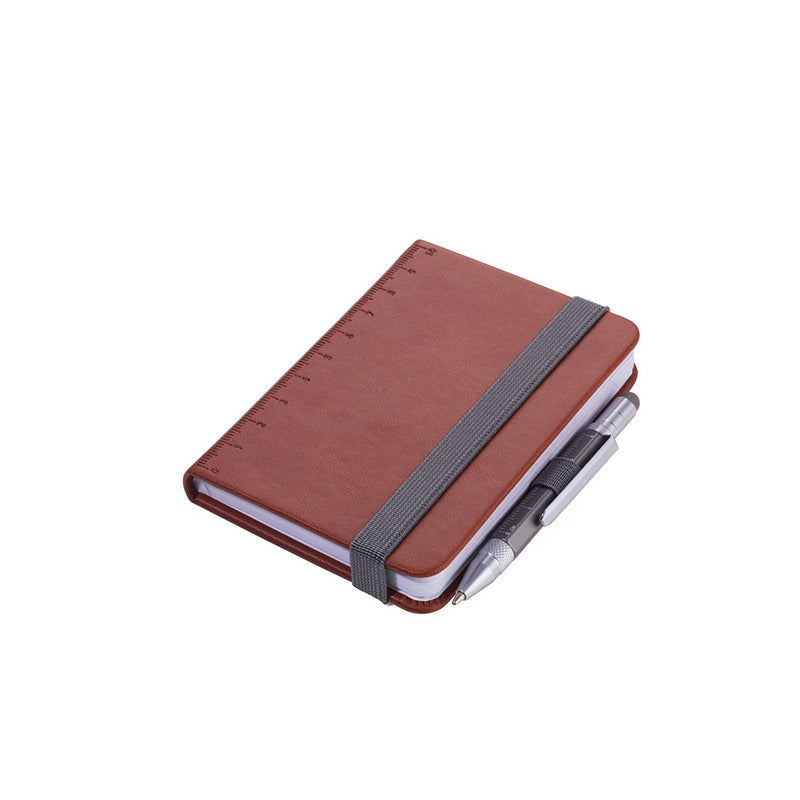 Brown Troika A7 Notebook with Mini Construction Pen