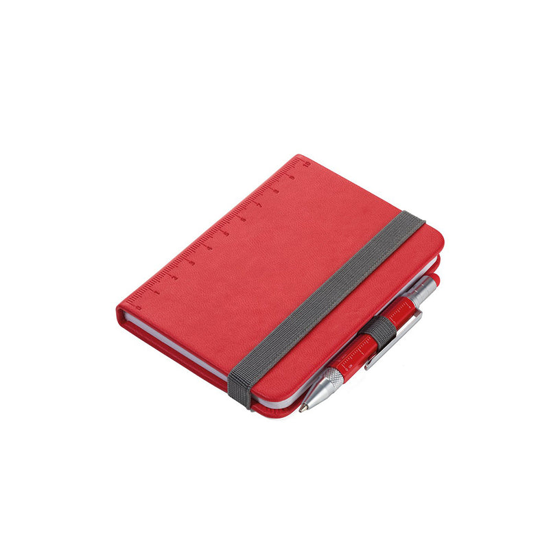 Red Troika A7 Notebook with Mini Construction Pen