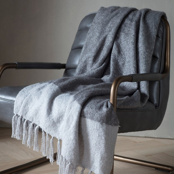 Blush/Silver Faux Mohair Throw