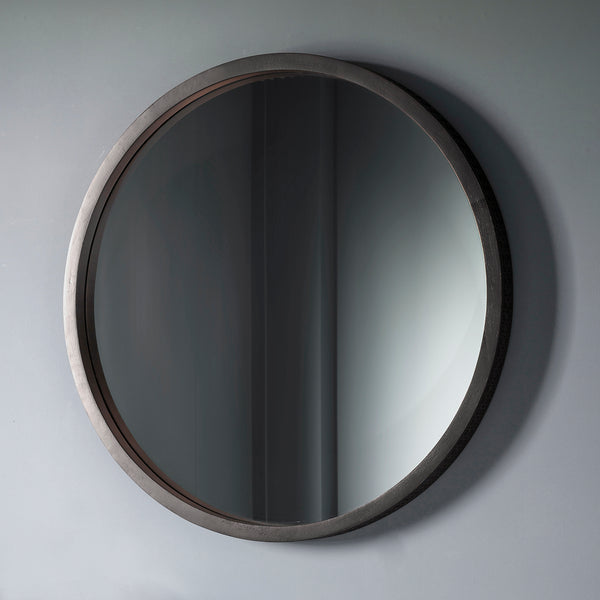 Deep Frame Black Round Mirror