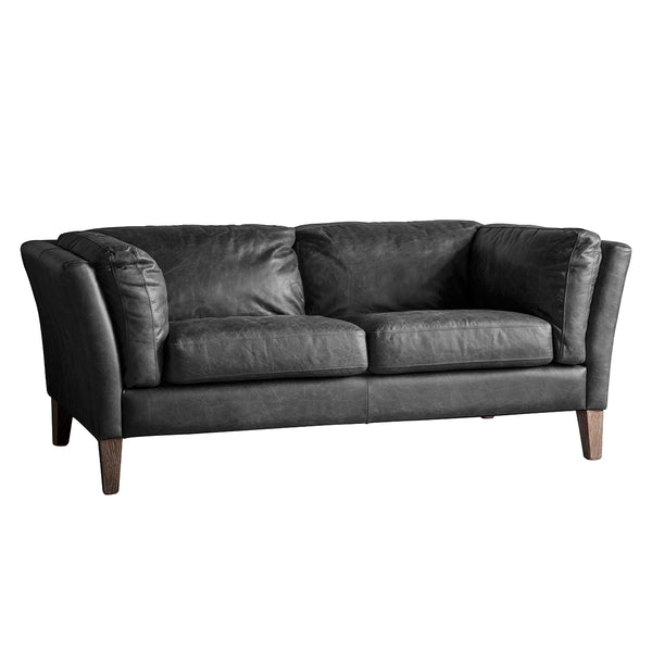 2 Seater Leather Ink Sofa