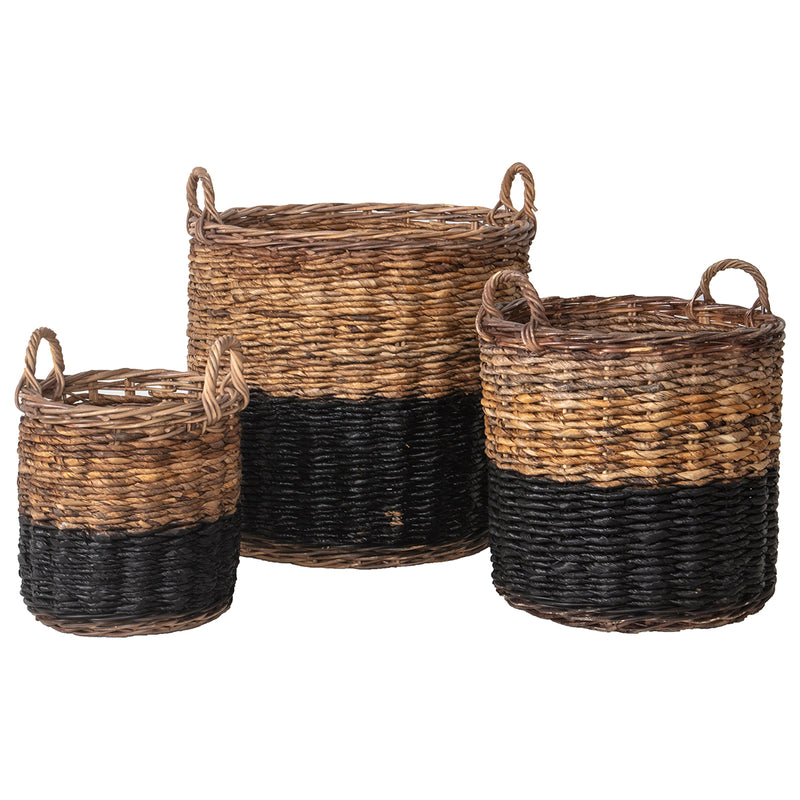 Natural Woven Basket Black (Set of 3)