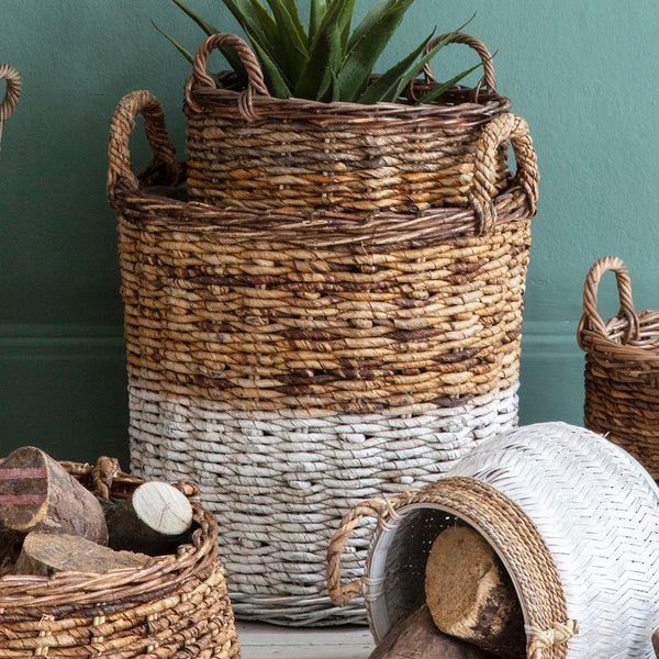 Natural Woven Basket White (Set of 3)