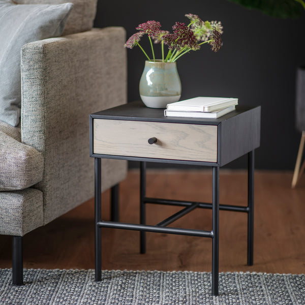 Dark Lacquer 1 Drawer Bedside Table