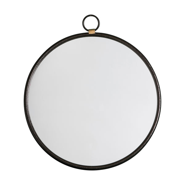 Matt Black Round Mirror