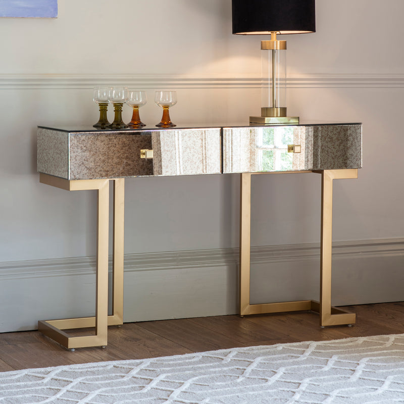 Mirrored Gold Deco 2 Drawer Console Table