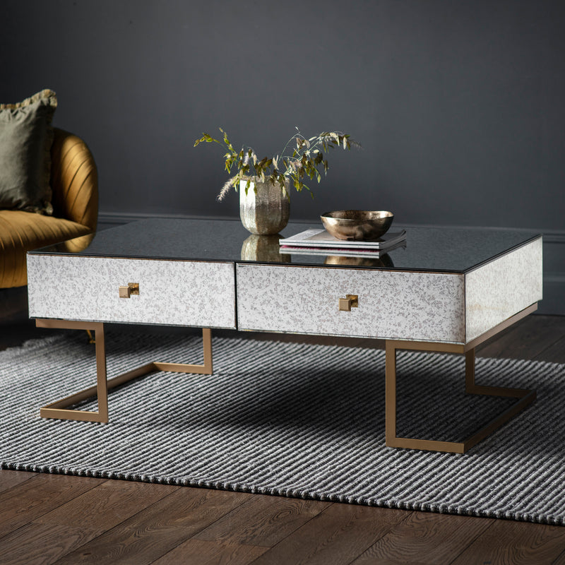 Mirrored Gold Deco 4 Drawer Coffee Table