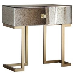 Mirrored Gold Deco 1 Drawer Side Table