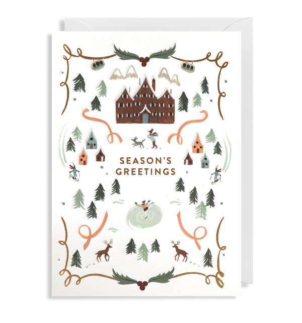 Seasons Greetings Wintery Village Card