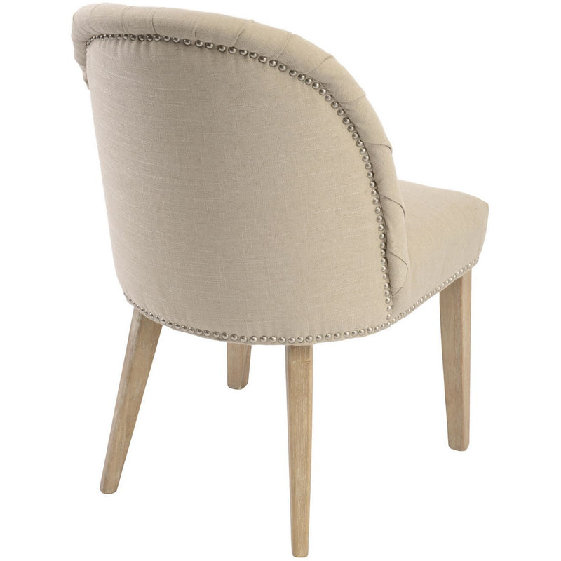 Natural Pleated Linen Dining Chair