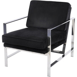 Black Velvet and Chrome Occasional Chair
