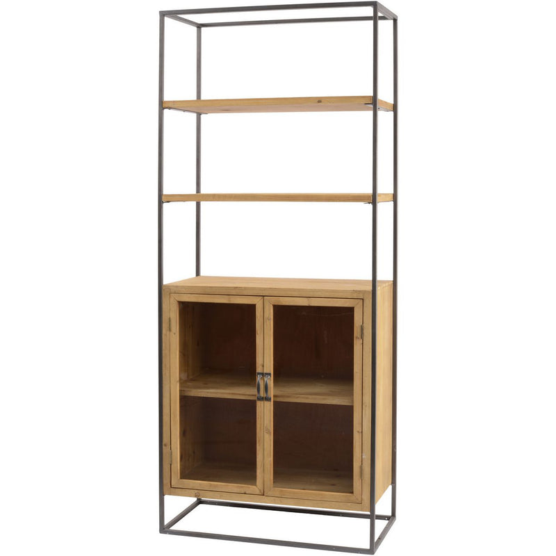 Industrial Shelves and Glass Fronted Cabinet