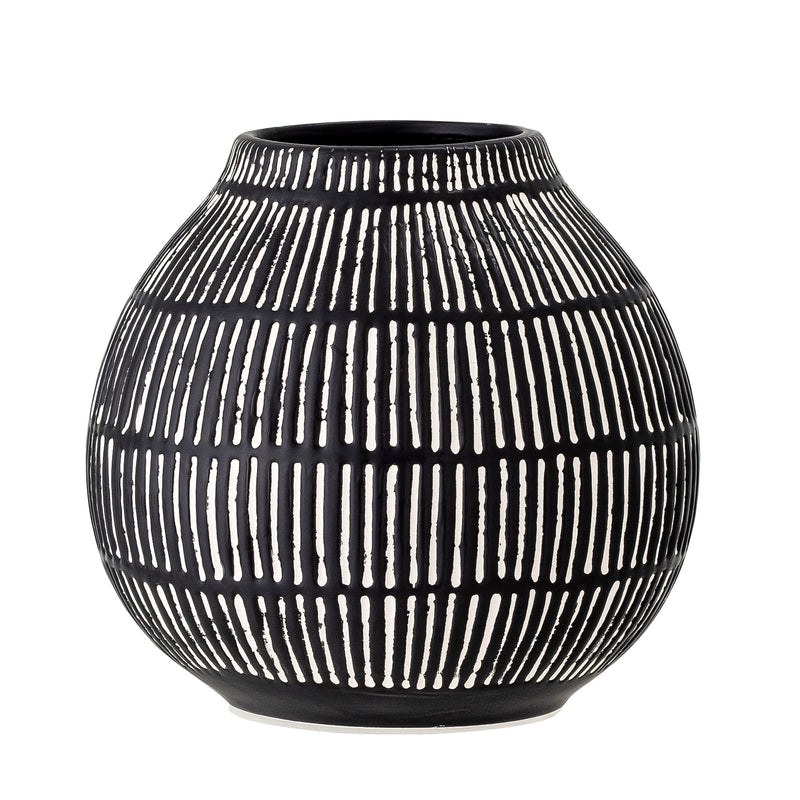 Round black vase with white stripes