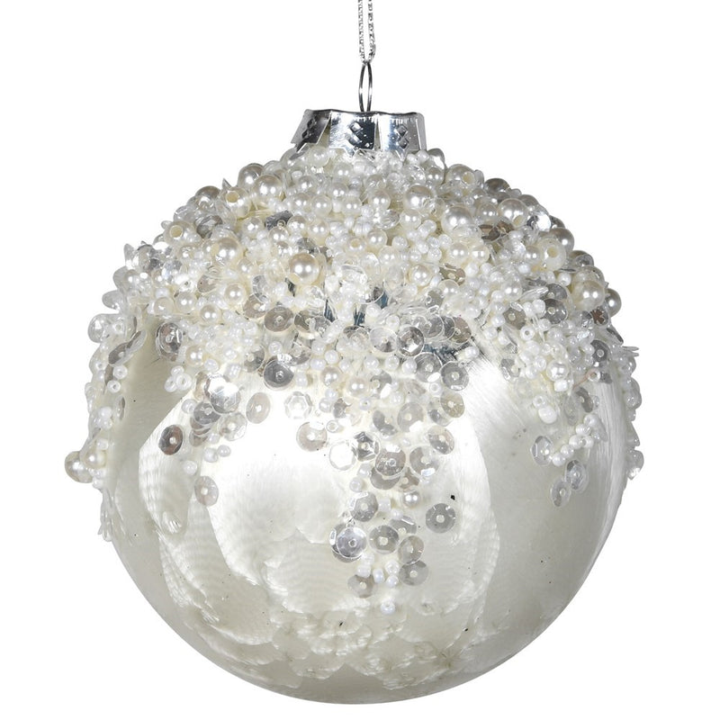 Snowy Embellished Bauble