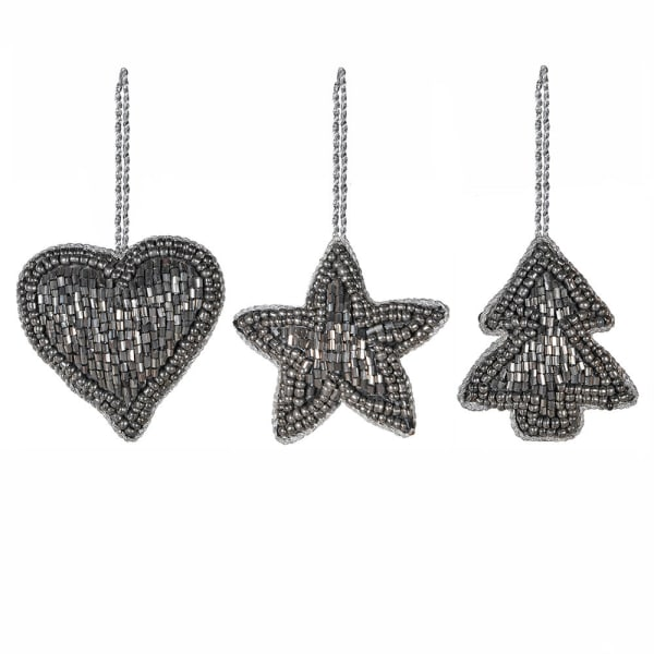 Beaded Hanging Heart, Star and Tree Set