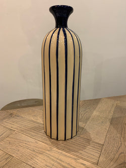 Blue and cream stripe vase