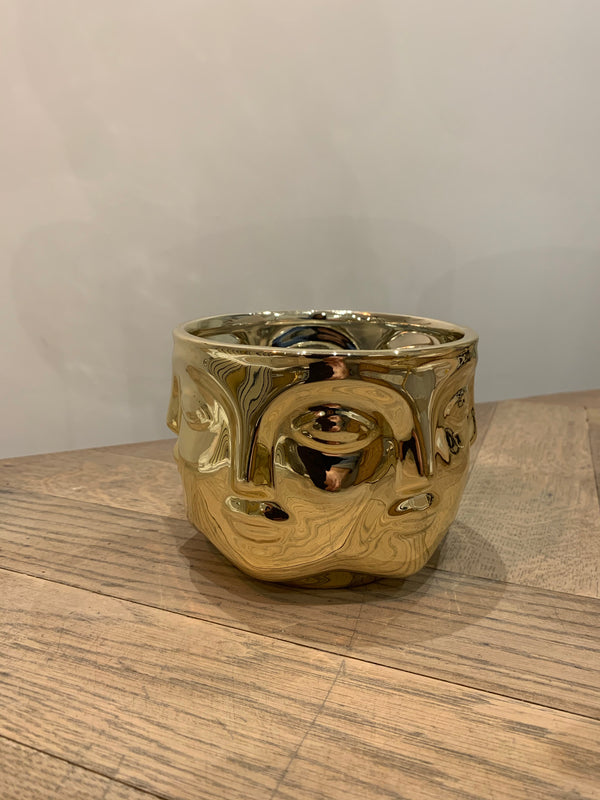 Gold abstract face bowl