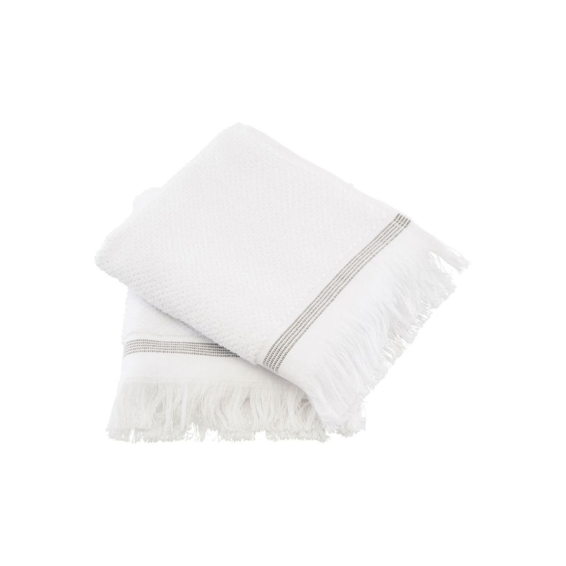Meraki Hand Towel - White w/ Grey Stripe