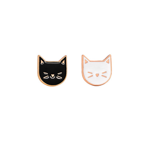 Double Cute Cat Face Badge